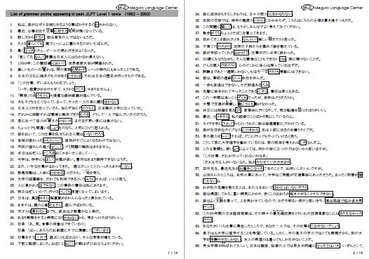 List of vocabulary appearing in past JLPT Level 1 tests (1992 - 2003), 8 pages