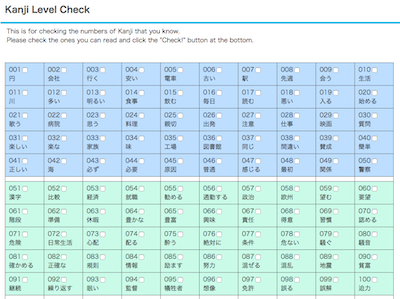 Online Kanji Level Check