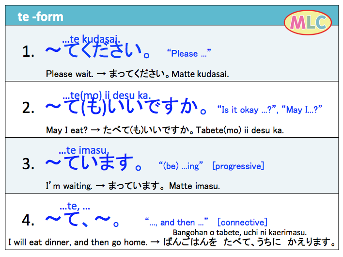 Important structures of verb te-form | MLC Japanese Language ...