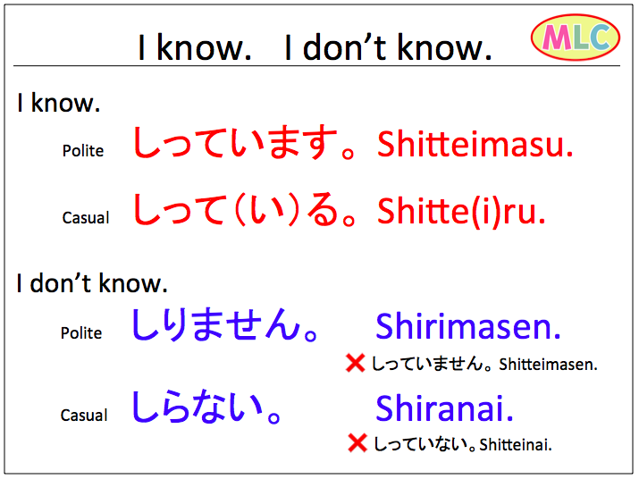 i know and i don t know in japanese mlc japanese language