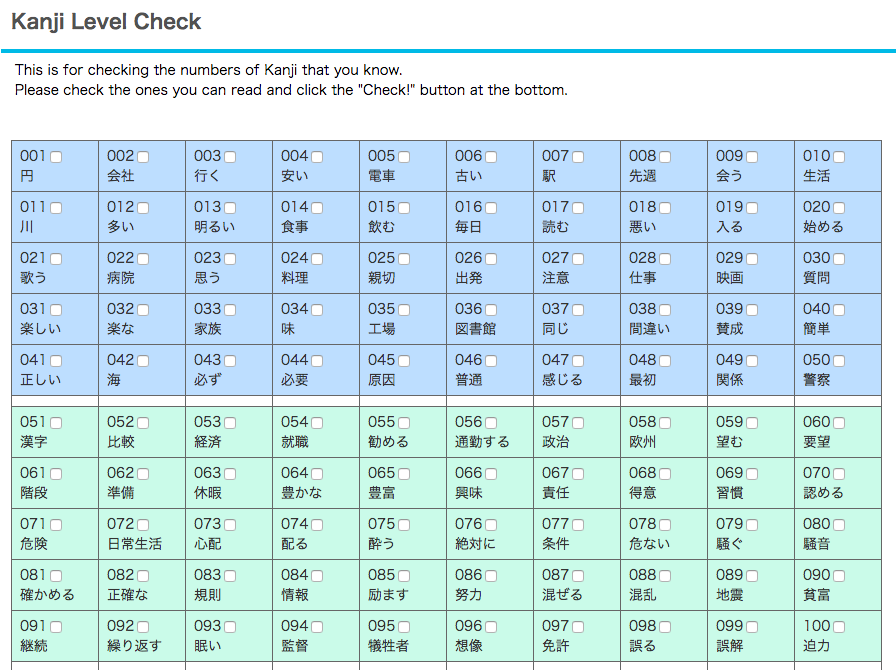 Kanji - Level Check, Radicals, Books, Lists, Quizzes | MLC