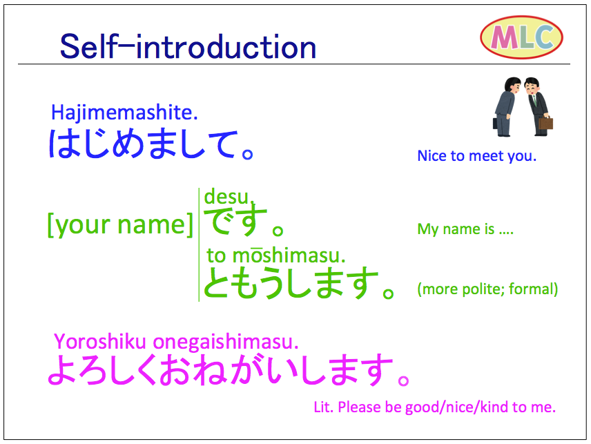 Self-introduction in Japanese