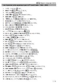 List of grammar points appearing in past JLPT Level 1 tests (1992 - 2003), 14 pages